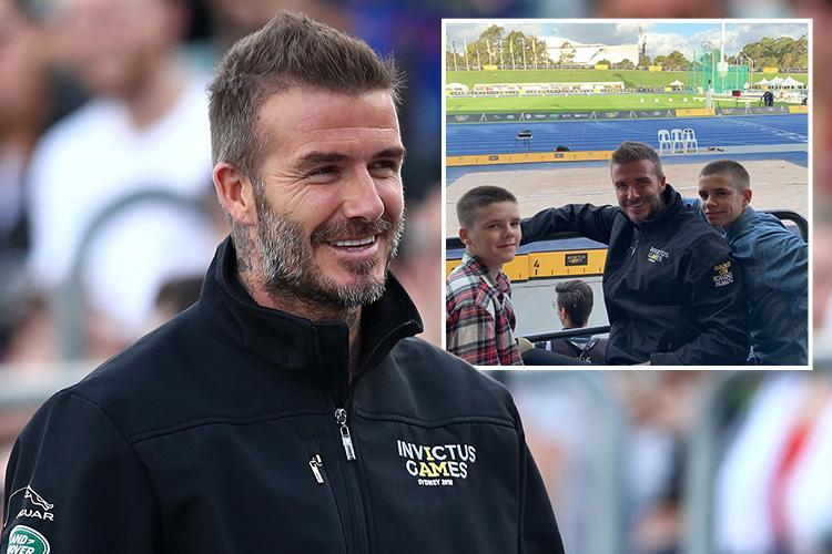 3c5d0060c3 David Beckham shows off new grey beard as he arrives to watch Invictus  Games with sons Cruz and Romeo